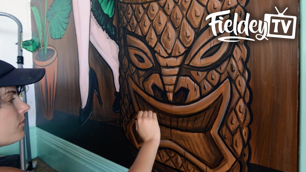 awesome retro tiki bar wall mural speed painting youtube