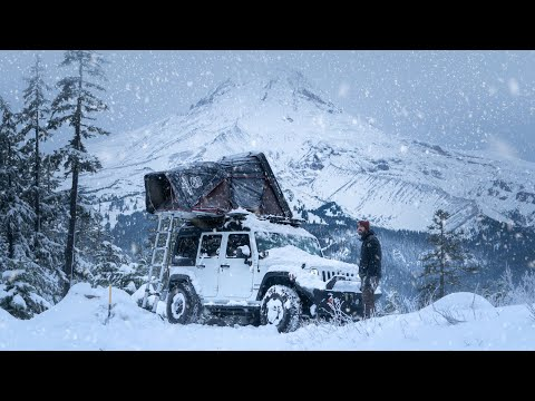 Solo Winter Camping through a Snow Storm - Life out of my JEEP