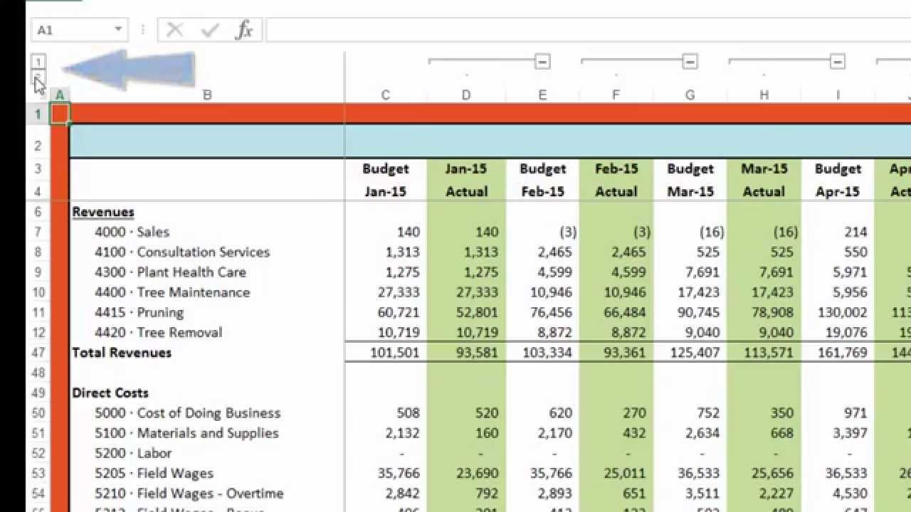 budget formula excel