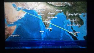 qatar airways flight qr847 kuala lumpur to doha airbus a340 600 inflight route map