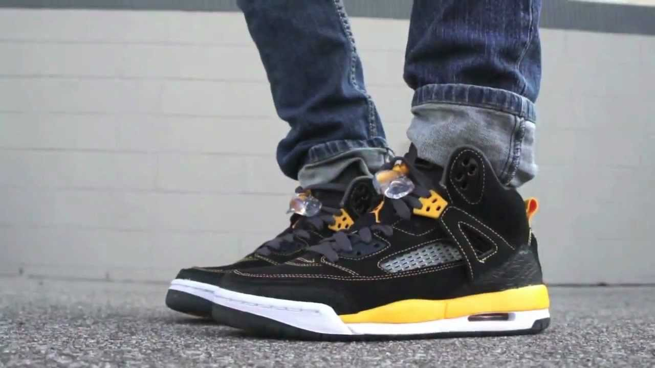 28a385bdb579 Air Jordan Spiz ike Black University Gold 315371-0303 - YouTube