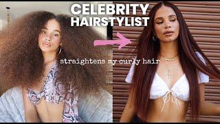 Celebrity Hairstylist Straightens My Curly Hair!!