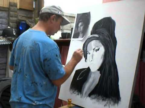 Amy Winehouse Black And White Acrylic Painting On Canvas