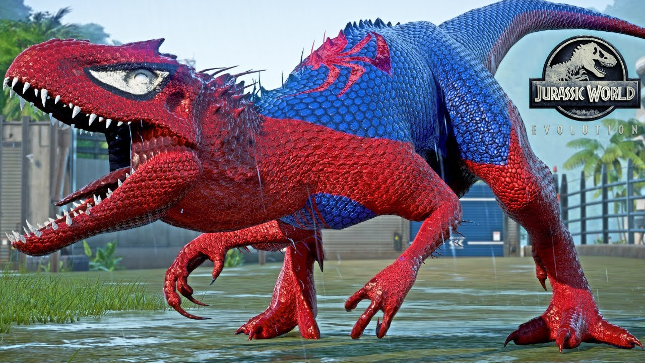 Download Spiderman Indominus REX, Venom, Captain America, Iron Man  Dino Fight - Jurassic World Evolution