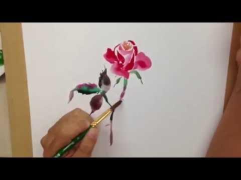 สาธิตการวาดภาพดอกไม้ โดย อ.มาโนช กิตติชีวัน