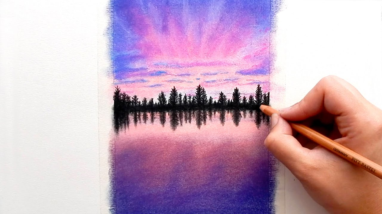 Timelapse Drawing A Purple Sunset With Faber Castell Soft Pastels