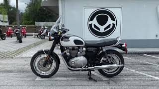 2017 Triumph Bonneville T120 in Pure White & Jet Black Walk Around Video At Euro Cycles Of Tampa Bay