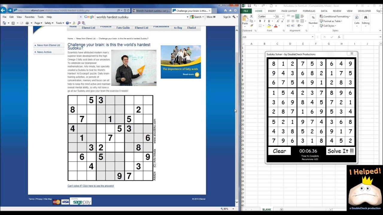 excel sudoku solver updated youtube