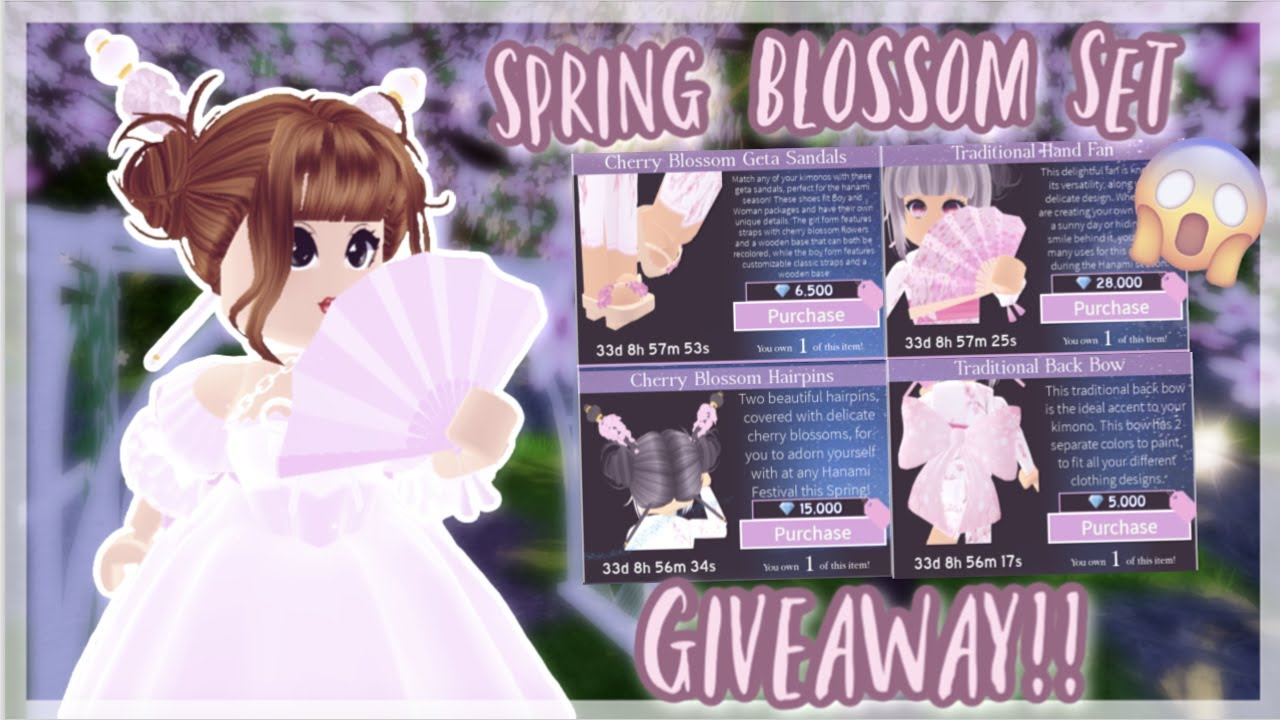 New Spring Cherry Blossom Set Giveaway Roblox Royale High Youtube