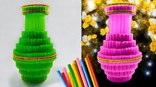 ide kreatif vas bunga dari sedotan kreatif | decorative flower vase with plastic straws