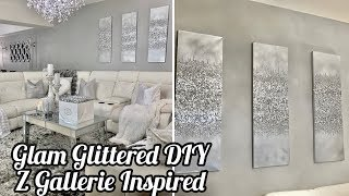 Z GALLERIE INSPIRED DIY GLITTER WALL ART BEST INEXPENSIVE GLAM DIY
