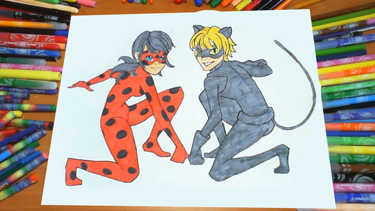Miraculous chat noir coloring page coloring pages - Miraculous Ladybug Cat Noir Coloring Pages For Kids Colors Milagroso Mariquita Para Colorear Youtube