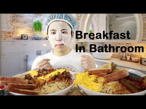 Breakfast in bathroom role play mukbang