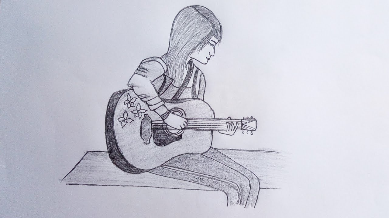 How to draw a girl playing guitar pencil sketch drawing