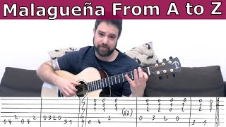 Malagueña Lesson From A to Z: Riffs, Scales and Soloing Tips - Guitar Tutorial w/ TAB