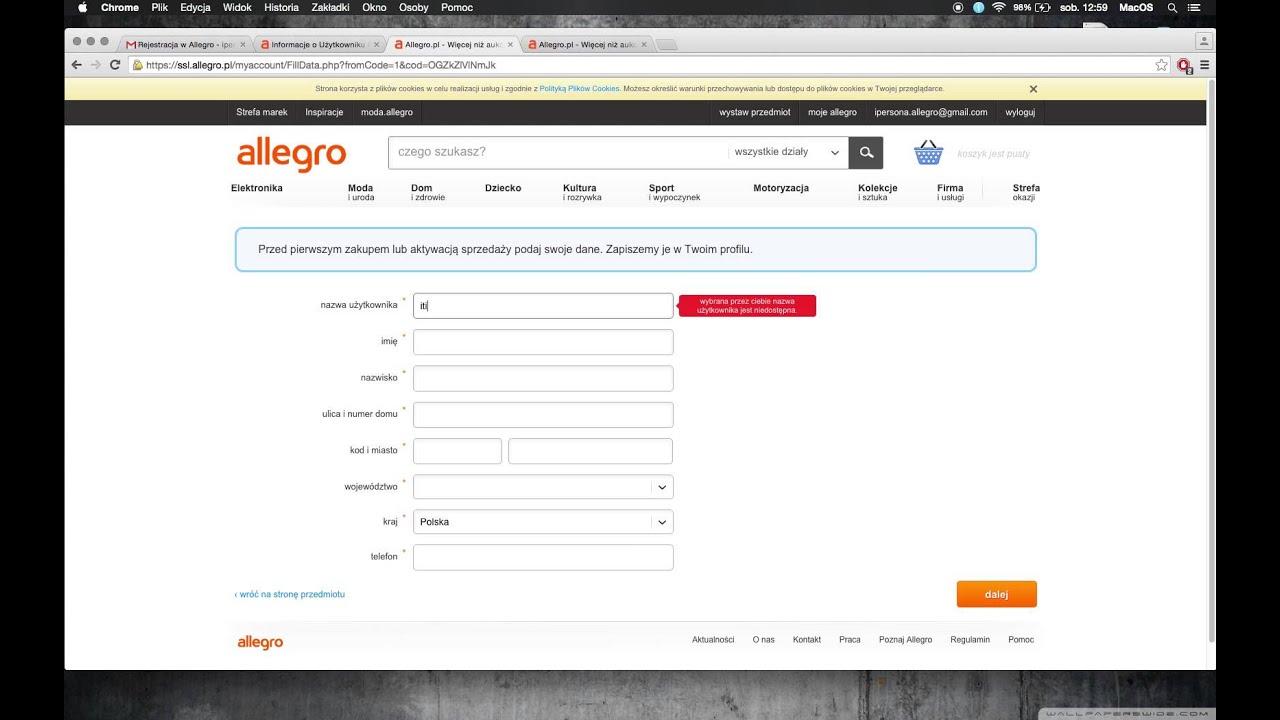 Rejestracja I Pelna Aktywacja Konta Allegro Youtube