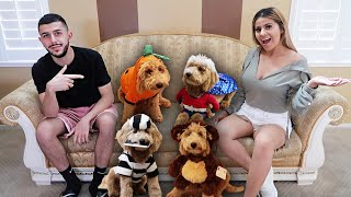 MY PUPPY TRIES ON HALLOWEEN COSTUMES FOR THE 1ST TIME! *GONE WRONG*