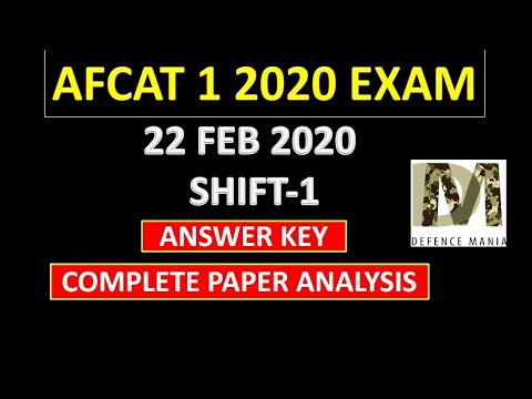 Afcat 1 2020 Exam 22 February shift 1 all Questions with answers