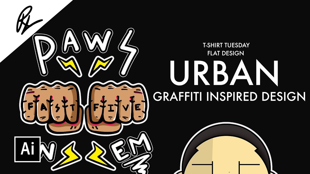 How to design urban graffiti art for t shirts adobe illustrator tutorial