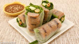 Grilled Pork Sausage Fresh Spring Rolls (nem Nuong Cuon)