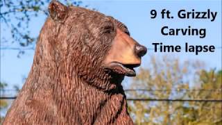 Chainsaw carving time lapse!! 9 ft. Grizzly Bear!!!