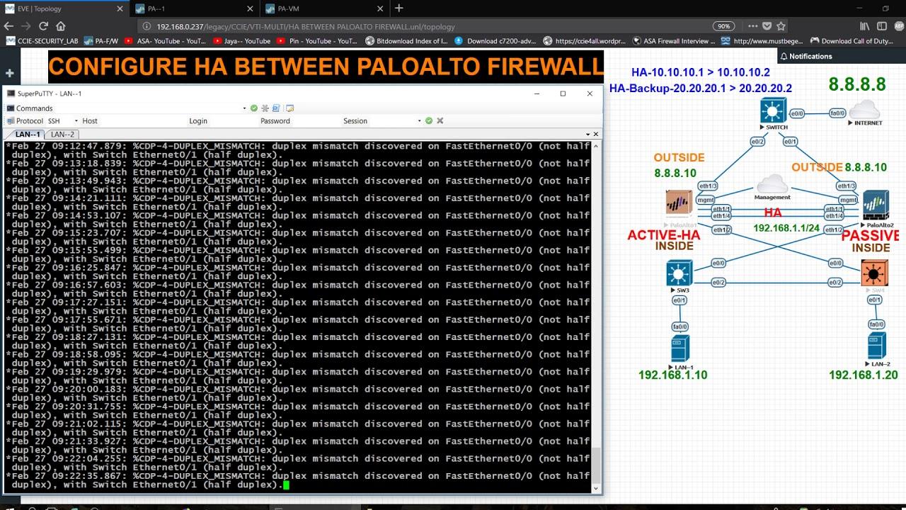 CONFIGURE HA BETWEEN PALOALTO FIREWALL