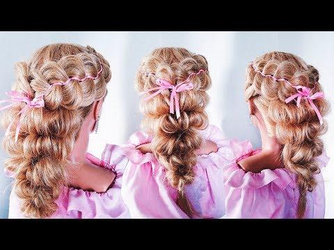 ПРИЧЕСКА на 1 сентября/выпускной для девочек.| Плетение с лентой |Little Girl's Hairstyle Tutorial