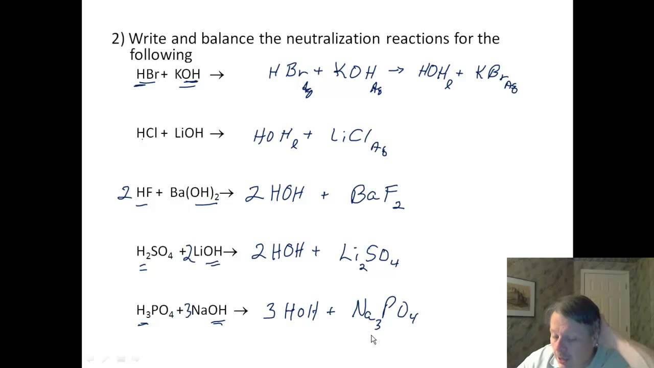 Acids 04 Worksheet  Neutralization Reactions  YouTube