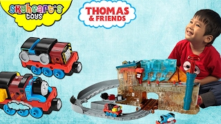 Kid making WEIRD THOMAS and Friends Toys for kids - Take N Play Train Maker Percy Gordon James