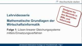 Lehrvideoserie Mathematische Grundlagen der Wirtschaftsinformatik - Folge 1