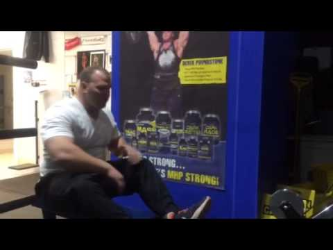 Derek Poundstone demonstrates seated cable row