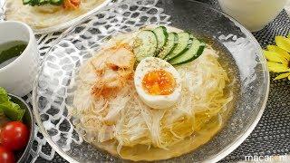 「冷麺風長芋そうめん」のレシピと作り方を動画で紹介します。長芋をス...