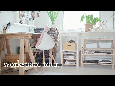 Art Workspace // Desk Tour + Organisation Tips · Semiskimmedmin