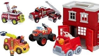 learn colors for children with green toys fire station paw patrol fire trucks blaze and hess