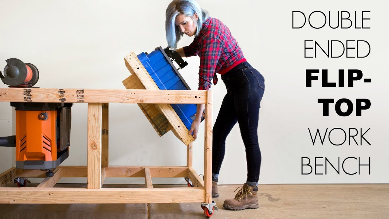 Double Ended Flip Top Workbench Woodworking Build Youtube