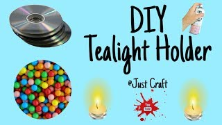 DIY Tealight Holder | Diwali Craft Ideas | Candle Stand from Waste CD | Just Craft