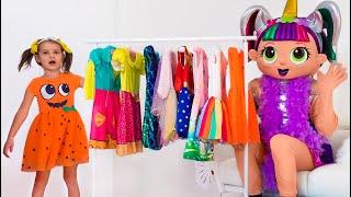 Historia de Katy y papá sobre muñecas en bolas gigantes