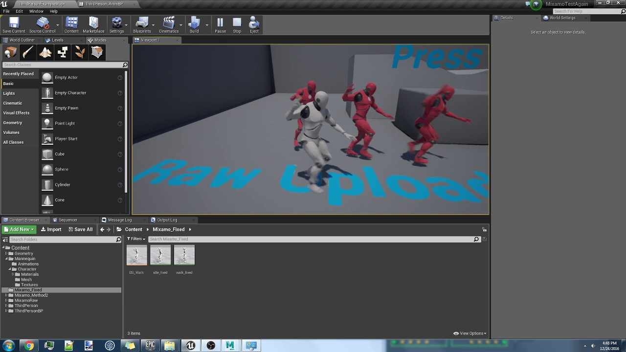 Retargeting mixamo in place animation to epic skeleton unreal the main idea is to remove the root and ik bones from the ue4 manniquin epic skeleton then upload the noroot epic skeleton to mixamo for animation malvernweather Gallery