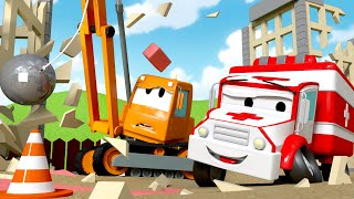 Amber der Krankenwagen -  Dane der Abrisskran - Autopolis 🚒 Lastwagen Zeichentrickfilme für Kinder