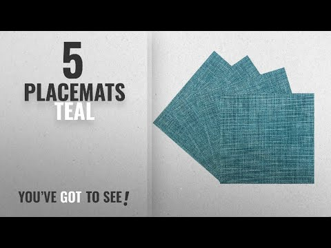 Best Placemats Teal [2018]: Benson Mills PM Tweed Woven Vinyl Placemat (Set of 4), Teal