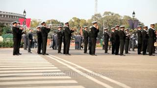 Indian Navy band rehearsing for the Beating Retreat ceremony