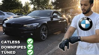 Crazy BMW Driver Drives A TUNED BMW 435i *CATLESS DOWNPIPES*