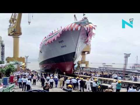 Indian-made Navy warship 'Mormugao' launched in Mumbai