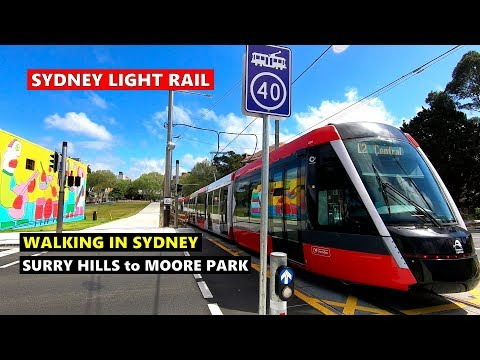 Walking From SYDNEY LIGHT RAIL Surry Hills Station To Moore Park Station Via Albert Cotter Bridge