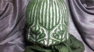 зеленая шапка бриошь Часть 1//Brioche Stitch // Women's hats knitting