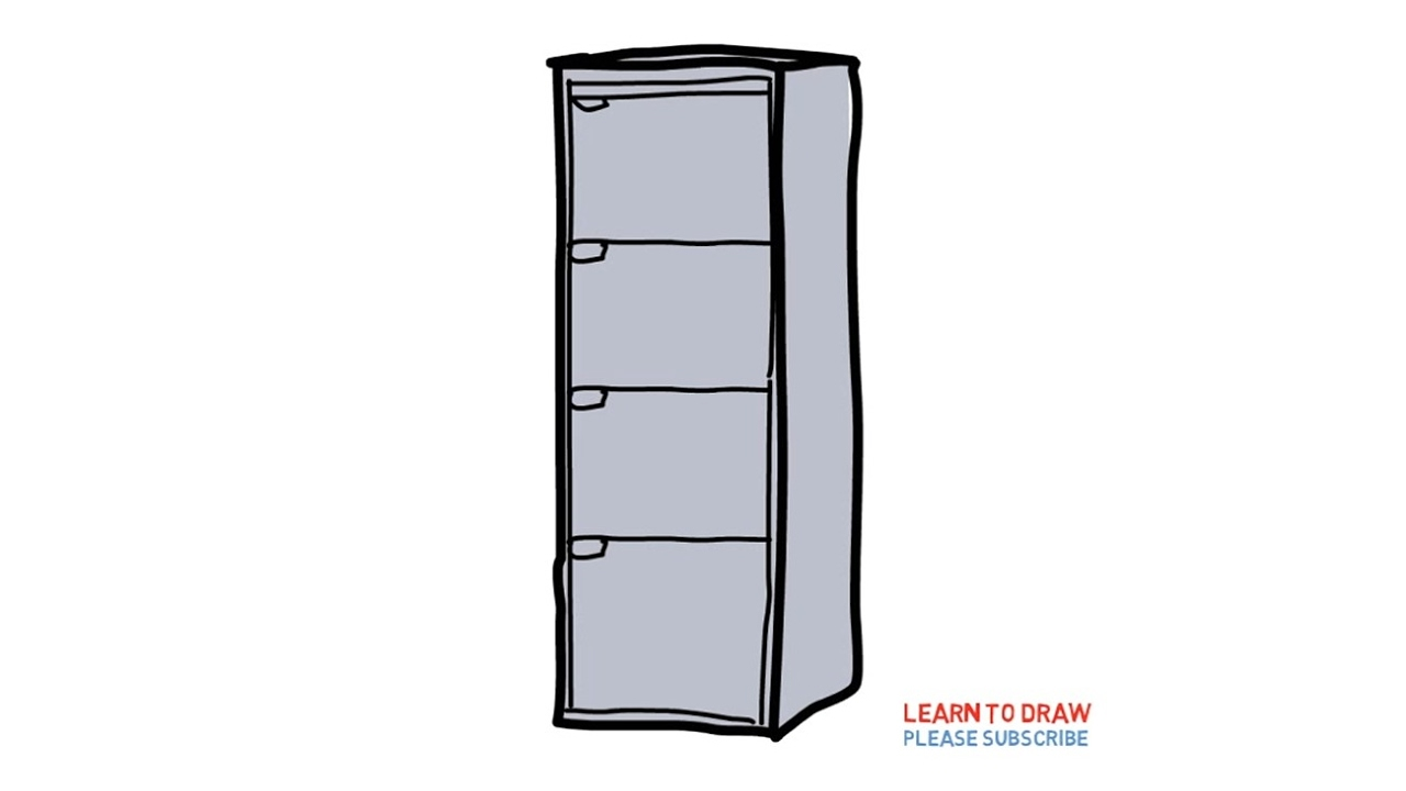 How To Draw A Filing Cabinet Step By For Kids