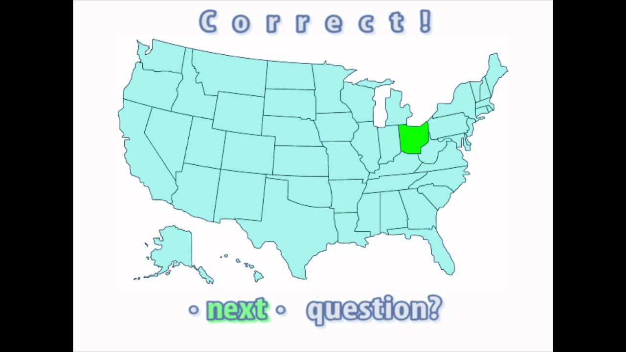 Interactive United States Map Quiz Correct Ohio Location YouTube