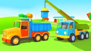 Helper Cars & the track for kids. Kids' cartoon with trucks.