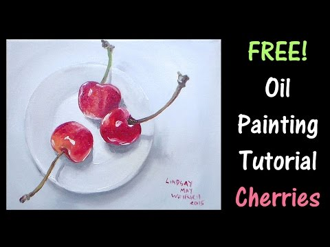 Cherries on a Plate Beginner Oil Painting Tutorial