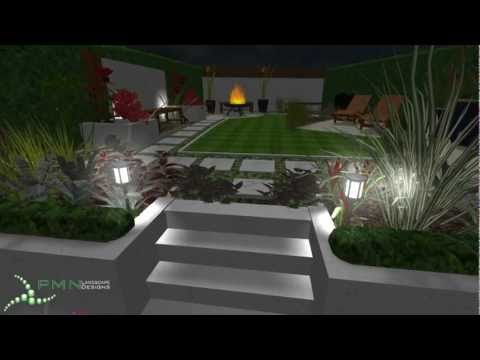 Contemporary Garden Design (night)   PMN Landscape Part 48